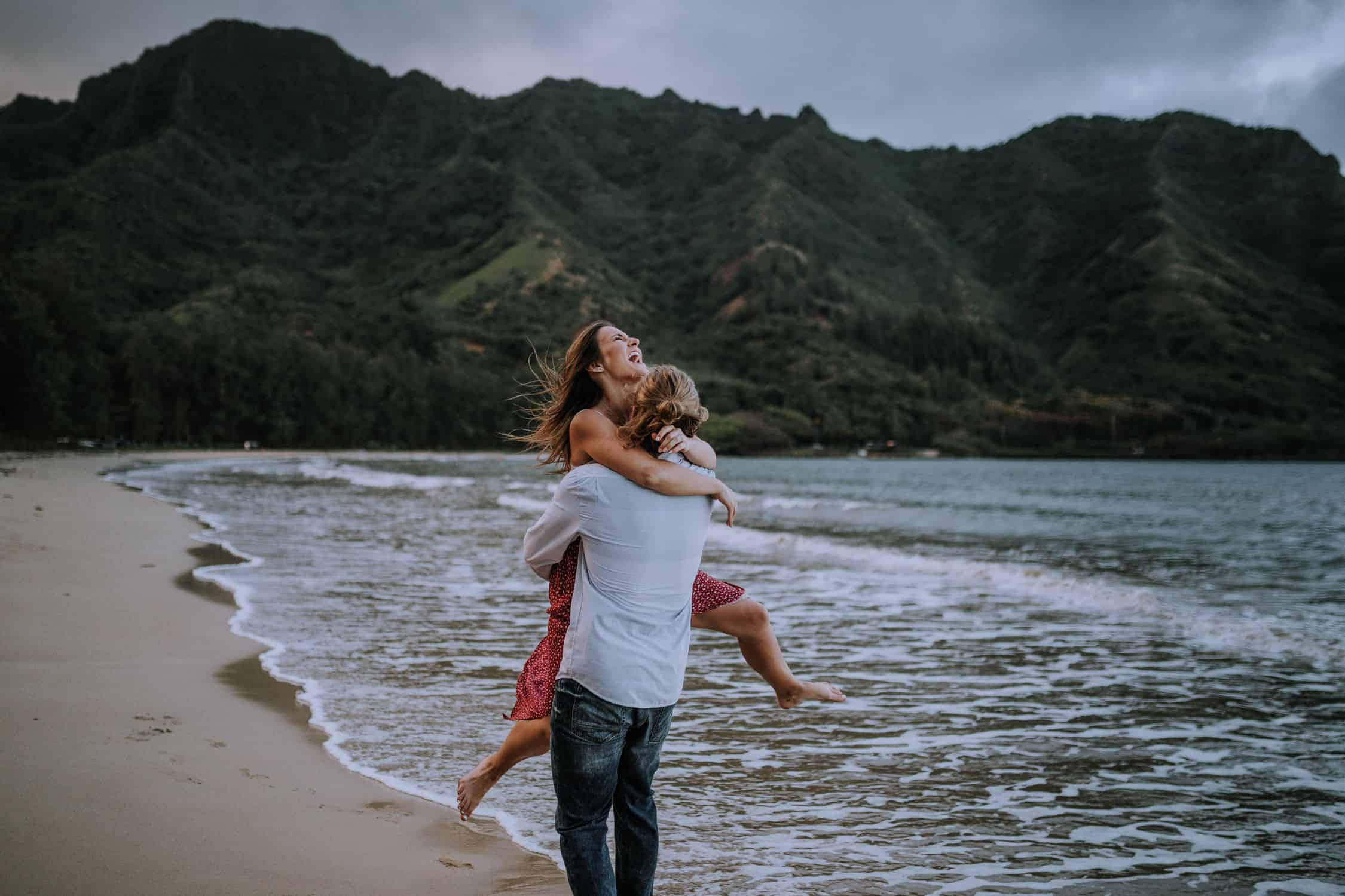 Adventurous mountain top engagement session hawaii by Anela Benavides