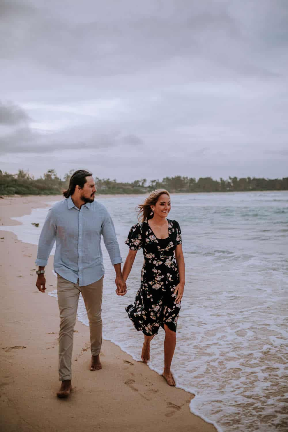 North Shore Oahu Hawaii engagement session with Anela Benavides photography