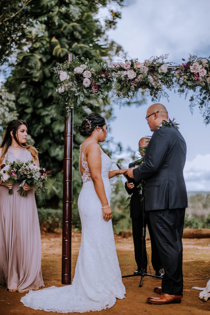 wedding ceremony at sunset ranch Oahu, Hawaii