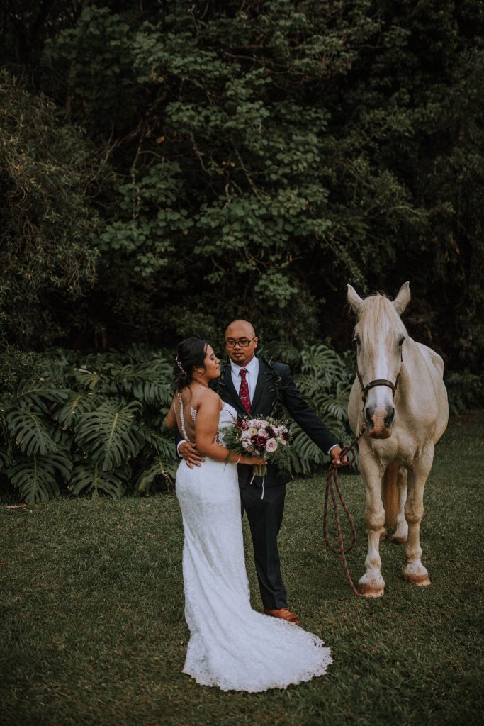 Bride and groom wedding day portraits at Sunset Ranch | Anela Benavides Photography