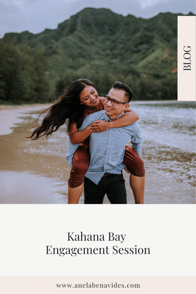 Kahana Bay, Oahu, Hawaii Engagement Session including posing ideas and outfit inspiration by Anela Benavides Photography
