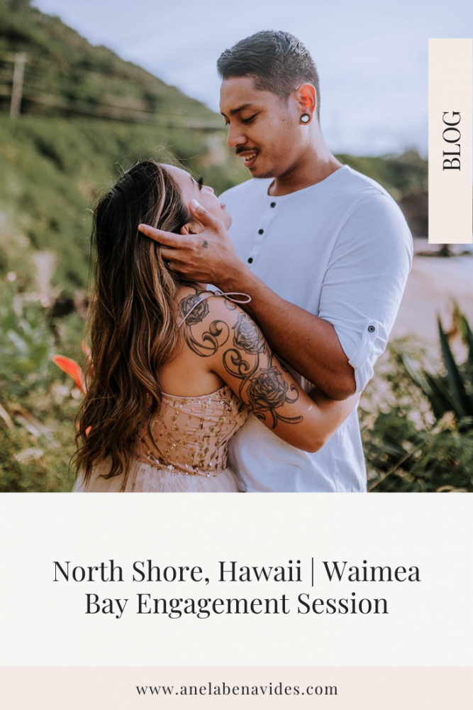 North Shore, Hawaii | Waimea Bay Engagement Session by Anela Benavides Photography. Includes posing inspiration for an outdoor couples session. Book your Chicago couples session and browse the blog for more inspiration #couples #photography #couplesphotography #Oahuphotographer #HawaiiPhotographer